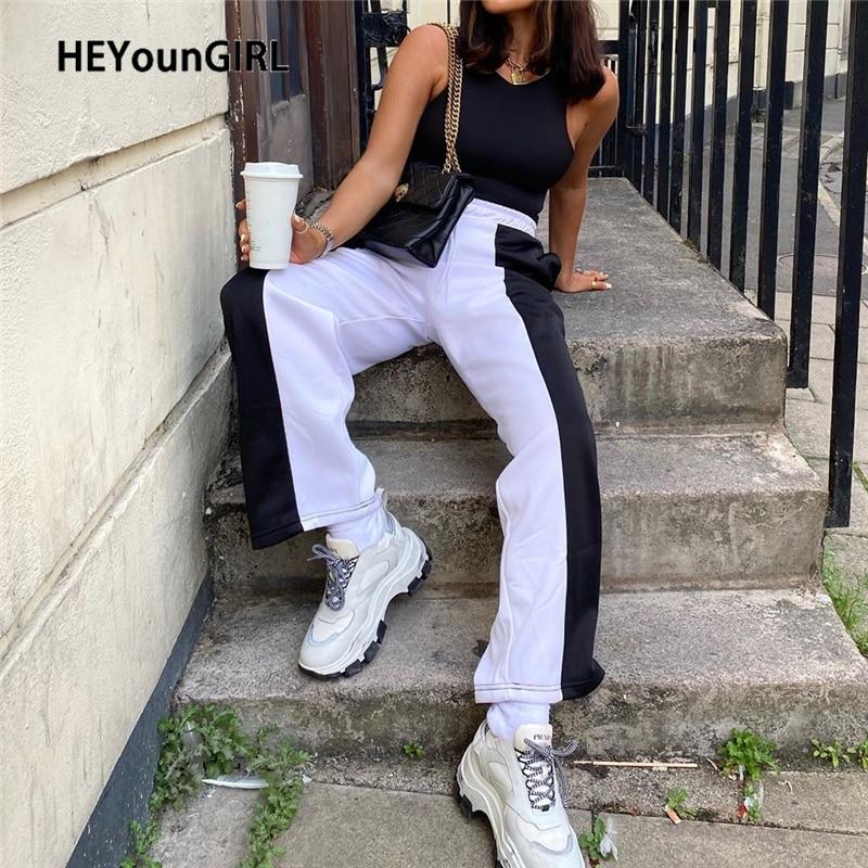 HEYounGIRL Patchwork Black White Sweatpants Women Casual Loose Straight Joggers Ladies Drawstring High Waist Pants Capris Autumn