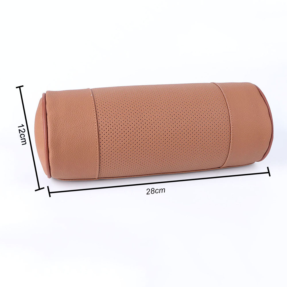 memory foam car neck pillow genuine leather auto cervical round roll office chair bolster headrest supports cushion pad black