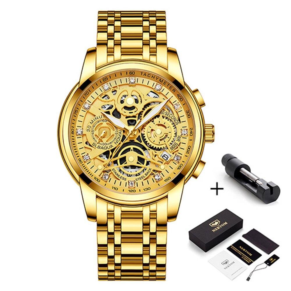 2021 NEKTOM Fashion Casual Men Watch Stainless Steel Golden Men Wristwatch Luxury Business Watch Relogio Masculio Gift for Men 6