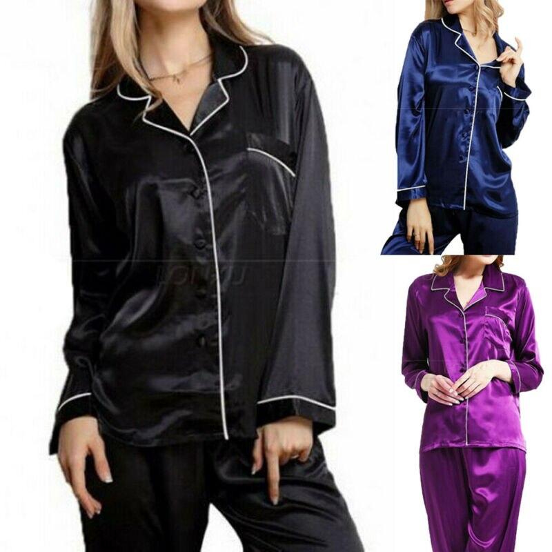 Womens Silk Satin   Pajamas   Pyjamas Ladies PJS Loungewear Sleepwear   Sets   Nightgown