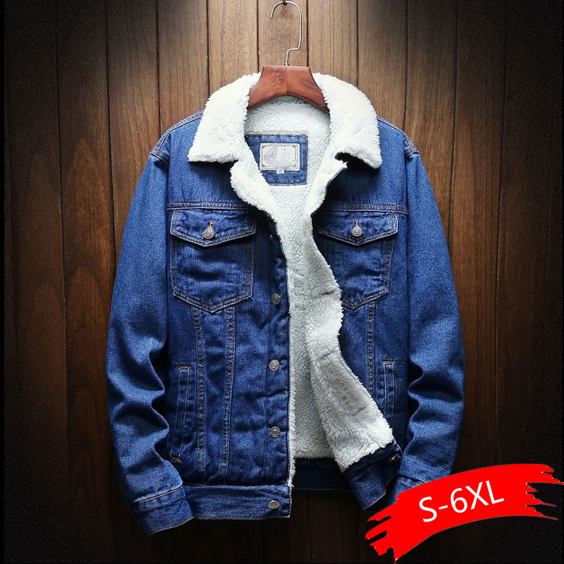 Warm Fleece Denim Jacket 2019 Winter Fashion Mens Jean Jacket Men Jacket And Coat Trendy Outwear Male Cowboy Clothes Homme S-6XL