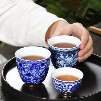 Tazón de té pequeño de 120ml, taza de té de porcelana blanca y azul, taza de té de cerámica de 50ml, taza de café, cerveza, vino