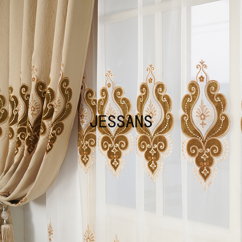 New Style European Curtains for Living Dining Embroidery High Shading Printing Room Window Drapes Bedroom Door Curtains