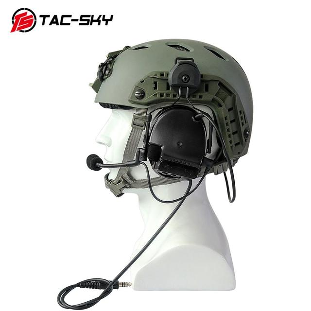 TAC SKY COMTAC III Helmet fast rail bracket version Silicone earmuff version Noise reduction pickup headset  BK