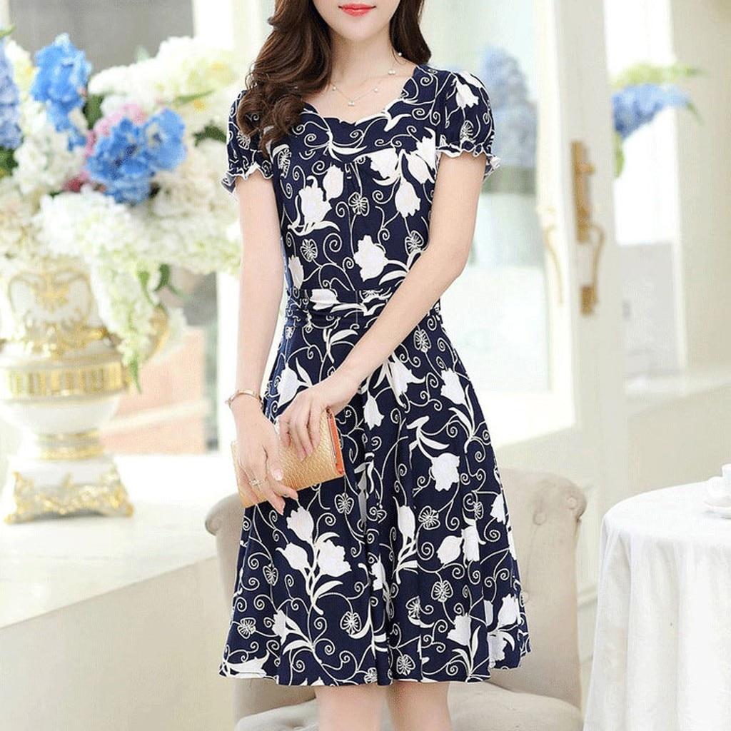 Женское платье с круглым вырезом, коротким рукавом и принтом, до колена