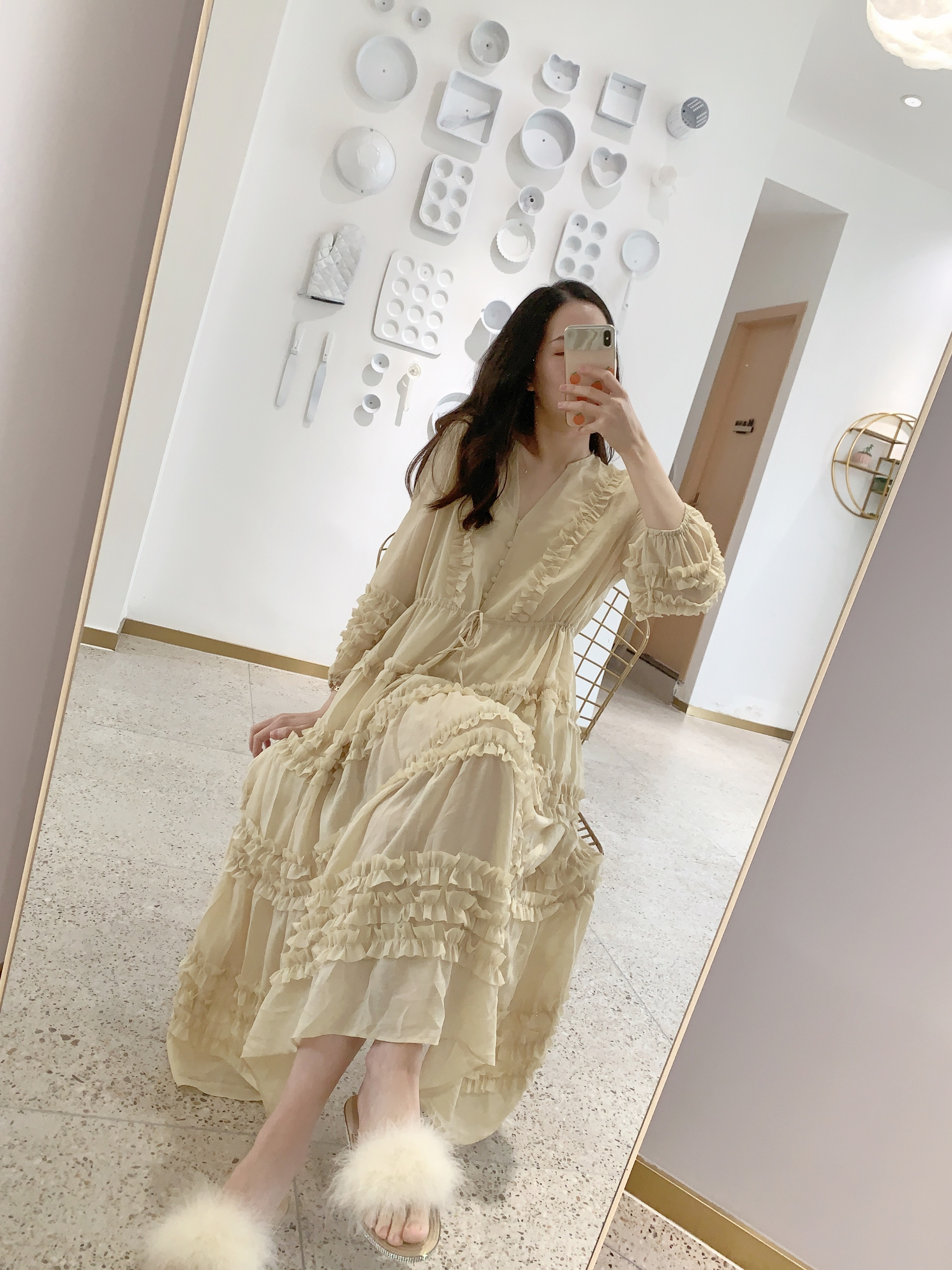 2020 spring summer women three quarter V-neck loose solid lace lantern sleeve fairy dress two-piece sweet one size Chiffon dress