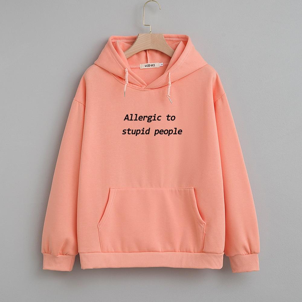 Cotton Sweatshirt Women Oversized Hoodie Female Harajuku Allergic To Stupid People Letter Print Sweatshirts Kpop Plus Size Tops 9