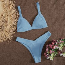 Maillot de bain pour femmes, Bikini brésilien, ensemble deux pièces, Push Up, bretelles côtelées, # Y7