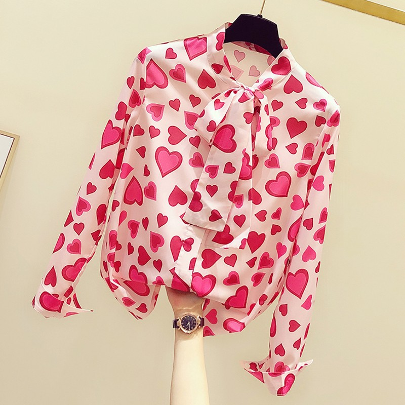 Heart Chiffon Bow Neck Women Blouse 2020 Summer New Long-sleeved Loose Office Lady Elegant Pulls Tops Tees