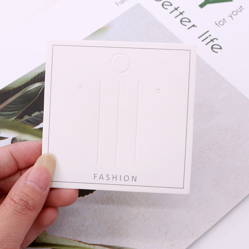 Fashion 100pcs/lot 8*8cm Hair Clips Square White Paper Display Card Hair Accessories Packaging Cards Tags Holder Customized