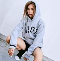 Photo Shoot South Korea oioi Embroidered plus Velvet Hoodie Hooded Pullover Loose Fit Coat Shipped 1033