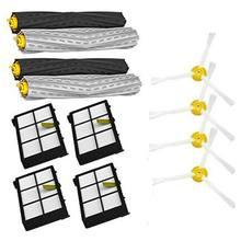 1 conjunto de detritos extrator & filtros & kit de reposição escova lateral para irobot roomba 800 900 series