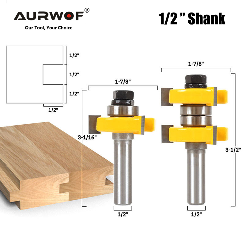2pcs 12mm 1/2 Inch Shank Tongue & Groove Router Bits Set Stock 1-1/2 Tenon Milling Cutter for Wood Woodworking Tools Bit 03074