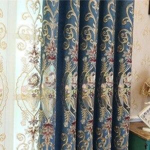 Image 1 - Avrupa tarzı perdeler oturma yemek odası için yatak odası lüks EmbroideryCurtain Tricolor isteğe bağlı bitmiş ürün özelleştirme
