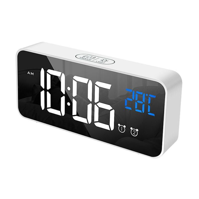 Réveil USB LED durables réveils numériques contrôle vocal Intelligent affichage de la température horloges électroniques décoration de la maison - 1