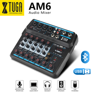 XTUGA 2020New 6 Channel Mini Mixing Console Audio Mixer with Bluetooth, USB, 48V Phantom Power for Live/Computer/Family K Songs
