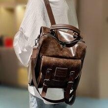 Kadınlar için PU deri sırt çantası kadın moda sırt çantası marka tasarımcısı Vintage omuzdan askili çanta Mochila Escola okul çantası sırt çantası Mochila