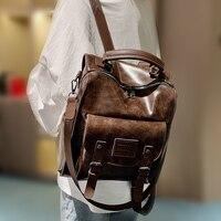 Women PU Leather Backpack Female Fashion Rucksack Brand Designer Vintage Shoulder Bag Mochila Escola School Bag Backpack Mochila