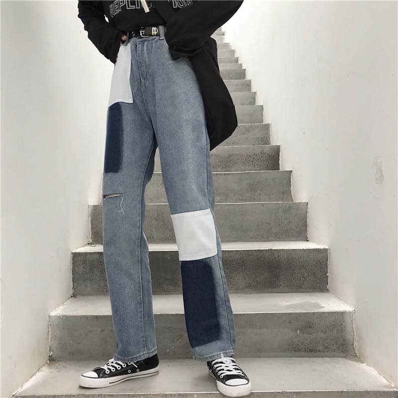 NiceMix 2019 Streetwear Patchwork Contrast Block Straight Jeans Women Vintage High Waist Hole Denim Pants Ripped Solid Trousers