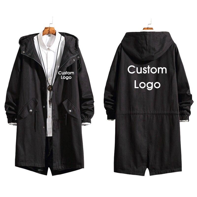 Autumn and Spring Custom Logo Men Long Coat DIY Customize Picture Design Long Trench Jacket Sweatshirt Fashion Overcoat