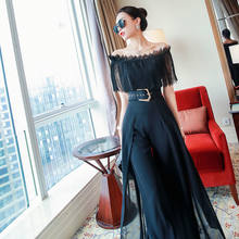 Ladies' summer suit women's 2021 new lace off shoulder top with two piece fashionable wide leg pants