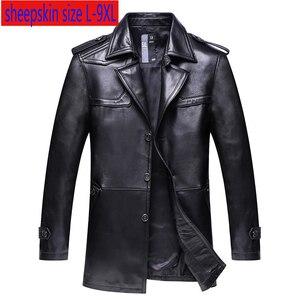 Image 1 - Nueva chaqueta de cuero genuino súper grande de alta calidad para hombre, abrigo suelto, cuello de traje, Otoño Invierno, tamaño Plsu Casual, L 8XL 9XL