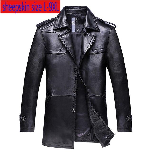 Nueva chaqueta de cuero genuino súper grande de alta calidad para hombre, abrigo suelto, cuello de traje, Otoño Invierno, tamaño Plsu Casual, L 8XL 9XL