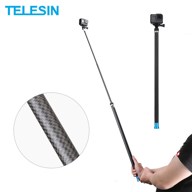 """טלסין 106 """"ארוך פחמן סיבי כף יד Selfie מקל להארכה מוט חדרגל לgopro גיבור 9 8 7 6 5 4 Xiaomi יי אוסמו פעולה"""
