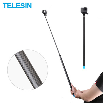 TELESIN 106 Long Carbon Fiber Handheld Selfie Stick Extendable Pole Monopod for GoPro Hero 9 8 7 6 5 4 Xiaomi YI Osmo Action