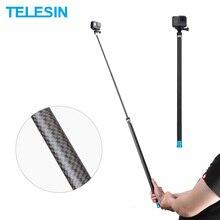 """TELESIN 106 """"longue fibre de carbone tenu dans la main Selfie bâton extensible pôle monopode pour GoPro Hero 9 8 7 6 5 4 Xiaomi YI Osmo Action"""