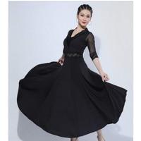 D0818 Lady Ballroom Dancing Dress Female Velvet and Milk Silk Dance Wear Lace Decorate V Neck Dance Costumes Modern Costums