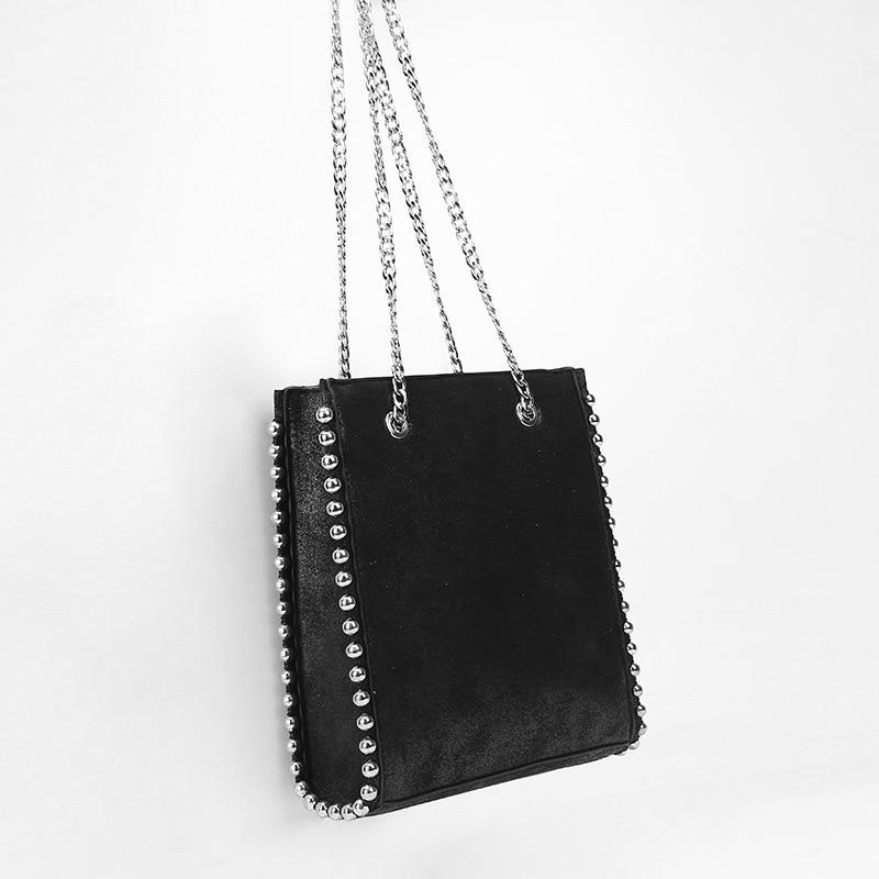 Rivet Ball Women Handbag 2019 Autumn and Winter New Tide Rivet Decoration Shopping Bag Tote Handbag Casual Shoulder Bag Chain