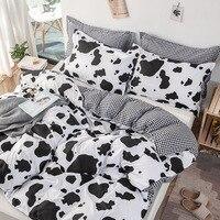Home Textile Cow Spot Printed Bedding Set Plaid Stripes 3pcs Duvet Cover Set Pillowcase Europe/USA/Australia King Size Bed Linen