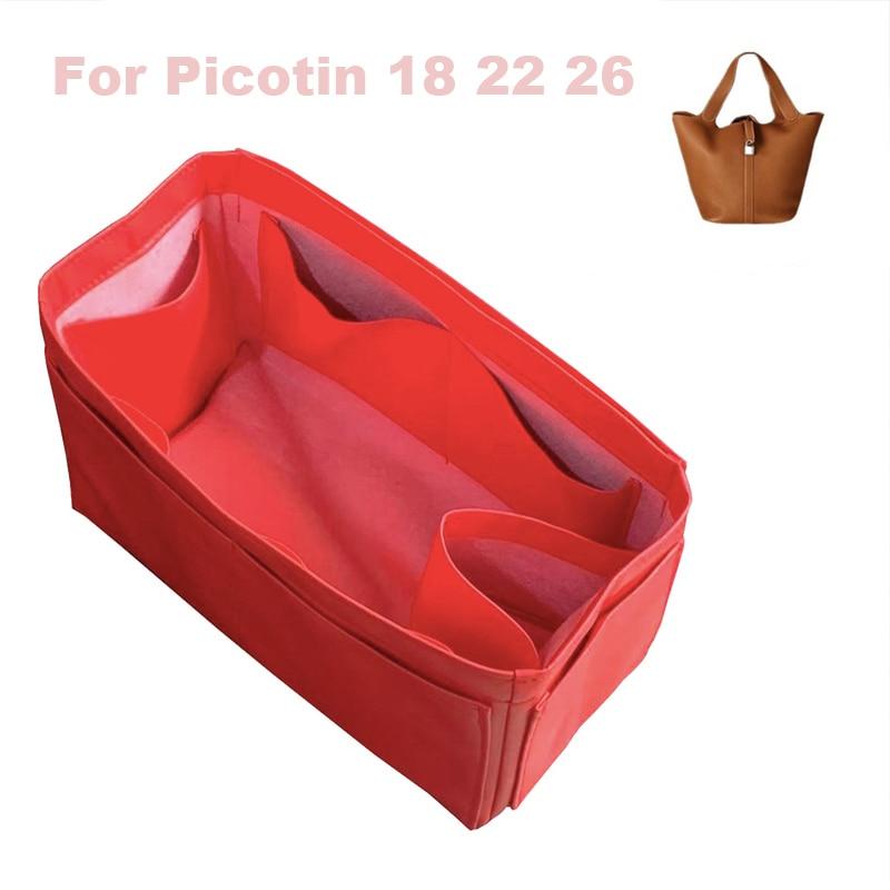 Fits H,S Picotin18 22 26 Handmade Genuine Leather Organizer bag Purse Insert Tote Bag in Cosmetic Diaper Handbag