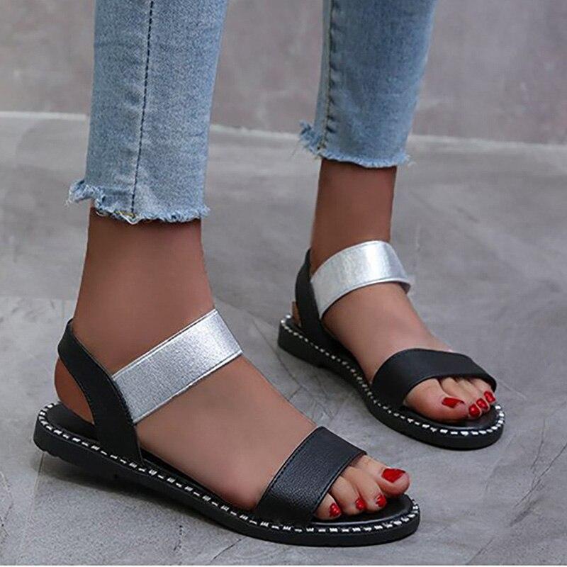 2020 Summer Women Sandals Woman Elastic Band Flats Ladies Fashion Rome Sewing Footwear Open Toe Women's Shoes Plus Size 41 2