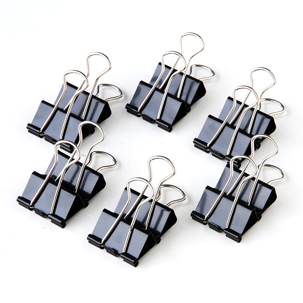 12pcs/lot Practical Black Metal Portable Clamp Clips Long Tail Clips Solid Tickets Clips Accessory Elliot Folder  Power Clip