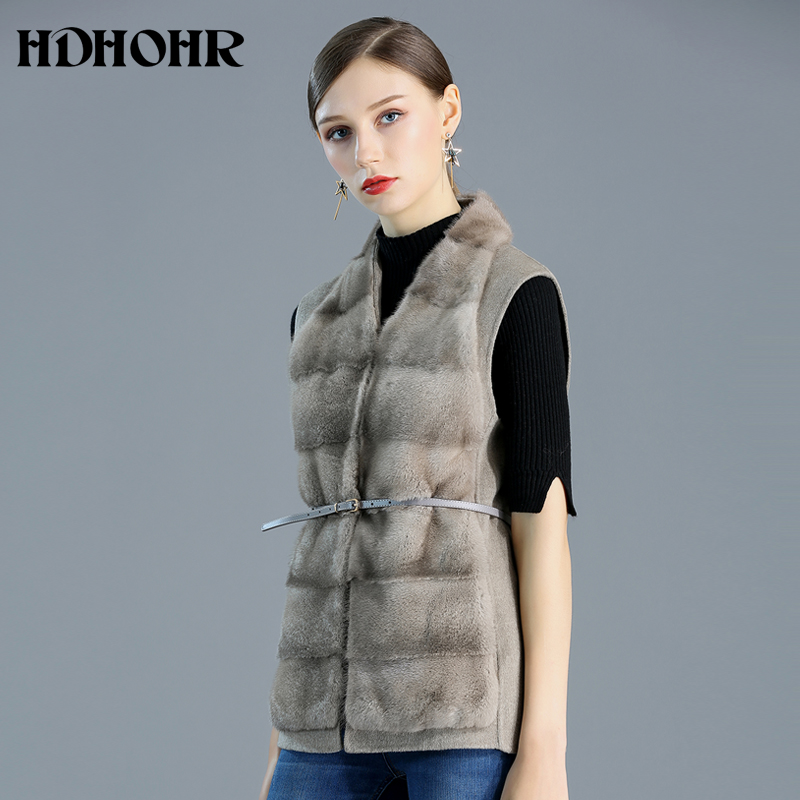 HDHOHR 2019 Hot Sale Natural Real Mink Fur Vest Cashmere Vest Women Winter Commuting-Leisure Short Mink Fur Jacket Female