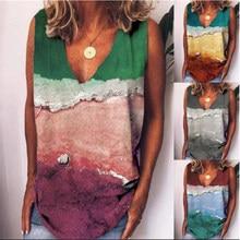 Women's Fashion Vest Tops Plus Size Clothing Summer New Style Positioning Wave Printing V Neck Sleeveless T Shirt Women