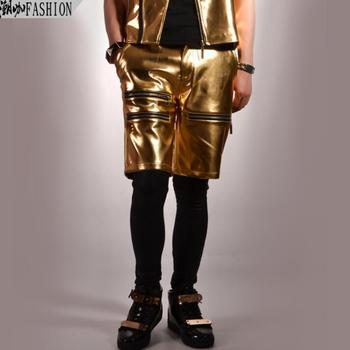mens pants stage personality Gold zipper pant men short trousers singer rock fashion pantalon homme street star style novelty