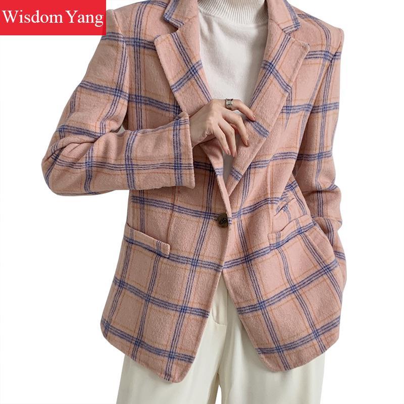 Winter Women Coat Suits Pink Blue Plaid Shorts Sheep Wool Coats Warm Elegant Office Ladies Suit Trench Woolen Oversize Overcoat