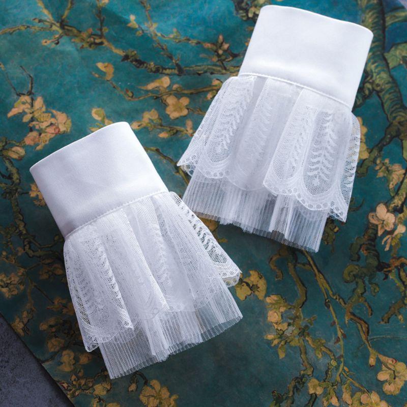 2pcs/pair Women Girl Fake Cuff Crotchet Floral Lace Hollow Out Wrist Decor