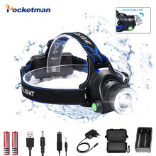 15000LM Headlamps L2/T6 LED Zoomable Headlamp USB Rechargeable Flashlights 18650 Battery Waterproof Headlight for Camping
