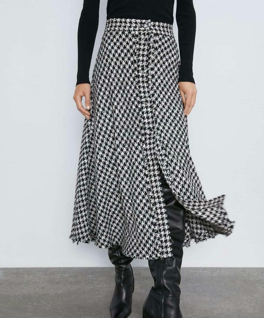 Модная клетчатая юбка с узором «гусиная лапка» Для женщин; Falda Jupe Femme; шикарная Одежда для девочек; твидовые женские элегантные длинные юбки;
