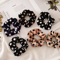 Polka Dot Print Velvet Scrunchie Elastic Hair Bands Women Girls Sweet Ponytail Holder Hair Ties Rope Fashion Hair Accessories