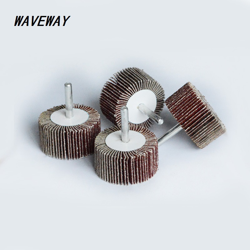 Waveway 1Pcs P80# Blinds Daibing Impeller Grinding Sandpaper Flap Wheel Head 6mm Shank Mandrel For Rotary Mini Drill Polish Tool