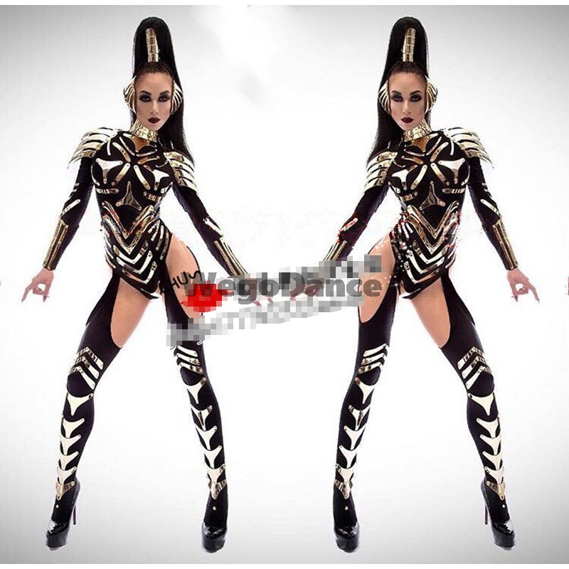 New Women Mirror Nightclub Bar New Futuristic Black Technology Warrior Costume Singer Gogo DS Dance Clothes Show Performance Set