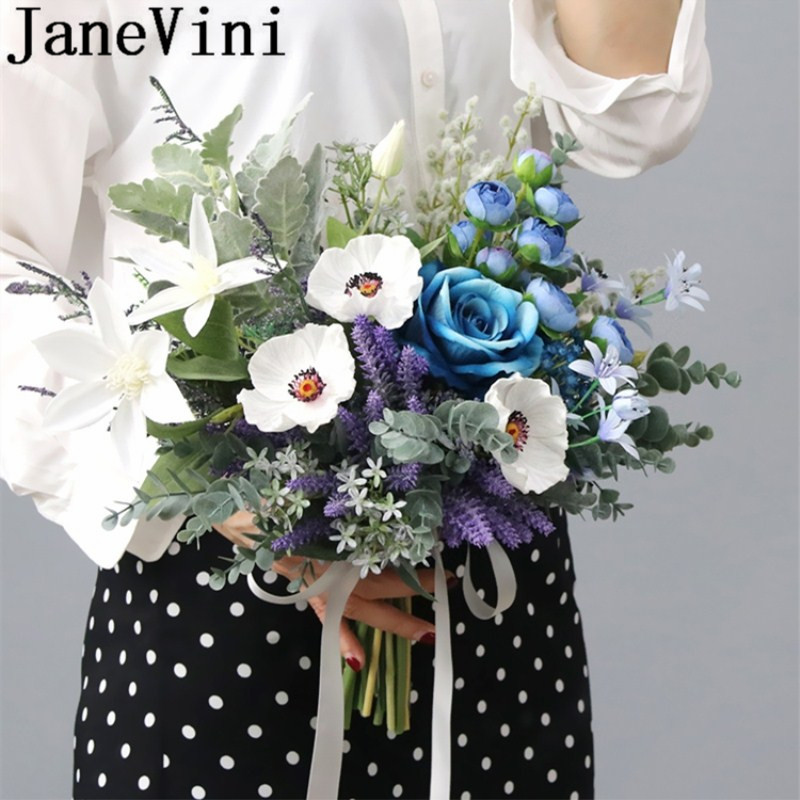 JaneVini Ramo De Novia Blue Wedding Bouquet Artificial Dried Flowers Vintage White Silk Flower Bridal Bouquets Rose Mariage 2019