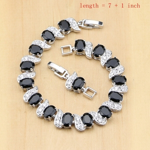 Image 2 - Prata 925 jóias preto e branco cz conjuntos de jóias para mulheres brincos/pingente/anéis/pulseira/colar conjunto