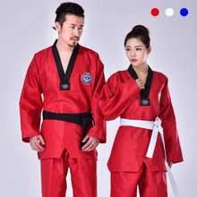 все цены на Taekwondo Uniform Clothes Traditional white suite for kids adult student Tae kwon do dobok MMA approve Black V-Neck clothing онлайн