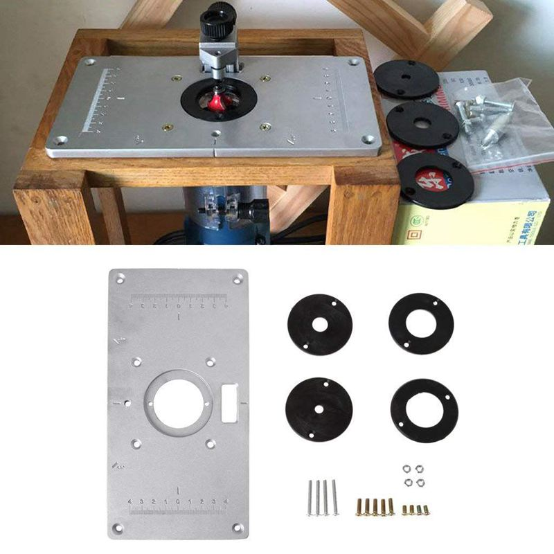 Hot Sale Aluminum Router Table Insert Plate W/4 Rings Screws For Woodworking Benches